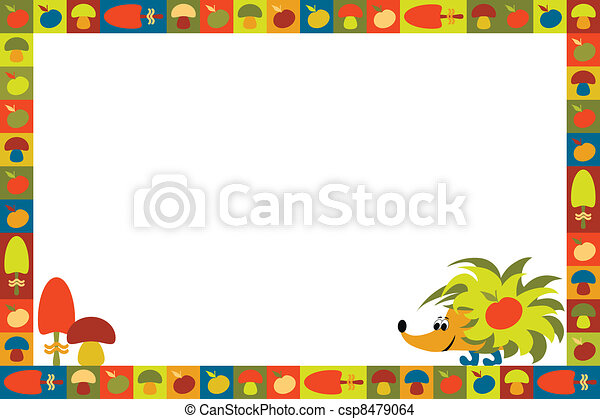 funny frame with hedgehog eps vector - Search Clip Art, Illustration ...