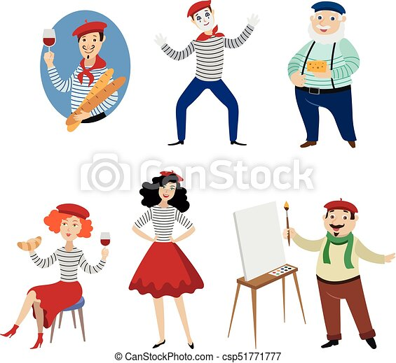 funny french characters people food and culture symbols of france rh canstockphoto com French Icons Clip Art French Flag Clip Art