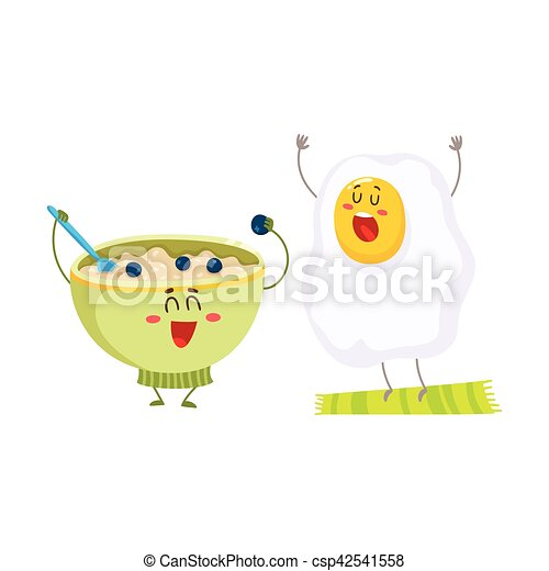 Funny fried egg and bowl of cereal characters, ideal breakfast - csp42541558