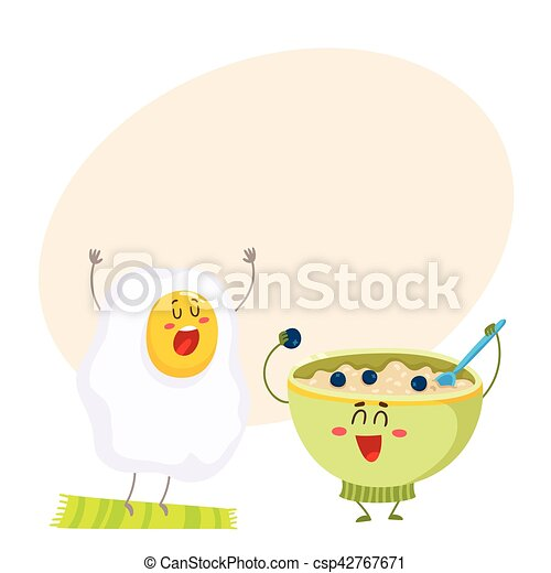 Funny fried egg and bowl of cereal characters, ideal breakfast - csp42767671