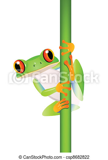 Funny frog cartoon  - csp8682822