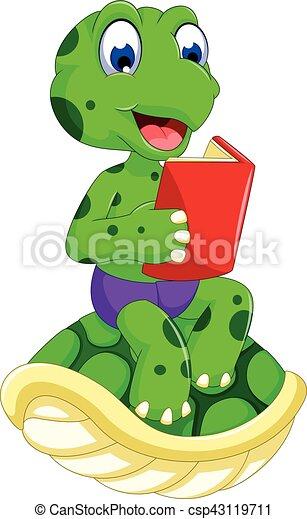 Vector illustration of funny frog cartoon reading book.