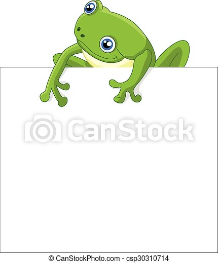 Funny frog cartoon with blank sign - csp30310714
