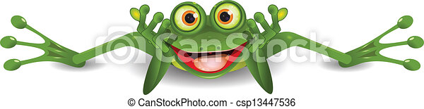 funny frog is on his stomach - csp13447536