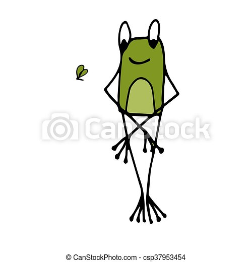 Funny frog, sketch for your design - csp37953454