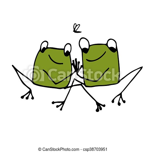 Funny frog, sketch for your design - csp38703951