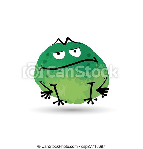 Funny frog. Watercolor sketch for your design - csp27718697