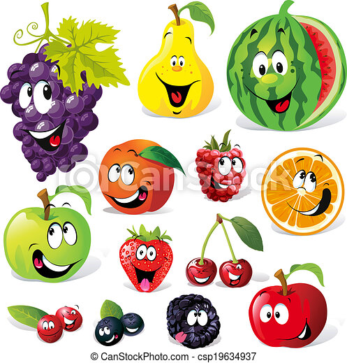funny fruit cartoon - csp19634937