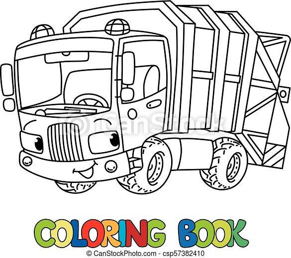 - Funny Garbage Truck Car With Eyes. Coloring Book. Garbage Truck Or Trash  Car Coloring Book. Small Funny Vector Cute