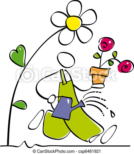 funny gardener gardener is watering the garden plants and vector rh canstockphoto com gardener clipart images gardener clipart free