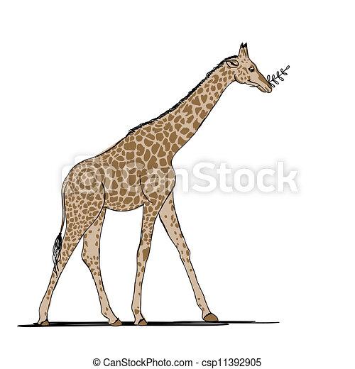 Funny giraffe, sketch for your design - csp11392905