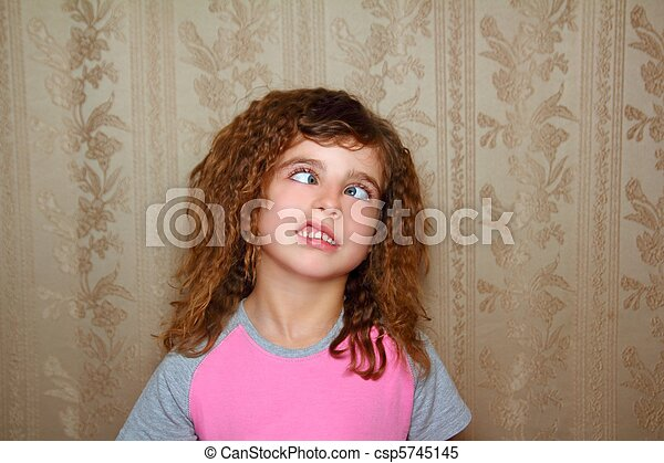 funny girl face ugly expression cross-eyed squinting - csp5745145