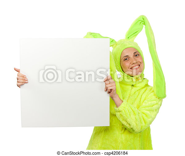 Funny girl in rabbit costume with blank board - csp4206184