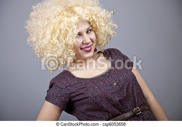 Funny girl in wig. - csp6053658