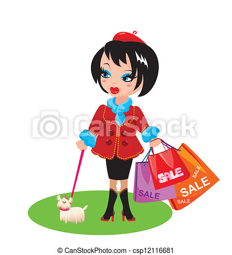 Funny Girl With Dog Go Shopping Vector