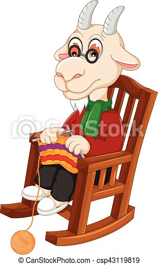 Stupendous Funny Goat Cartoon Knitting On A Rocking Chair Machost Co Dining Chair Design Ideas Machostcouk