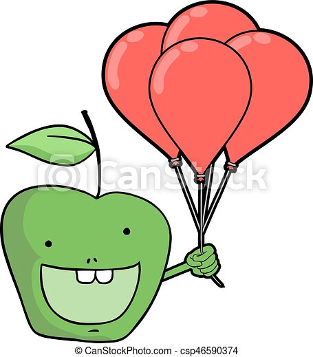 funny green apple with balloons - csp46590374