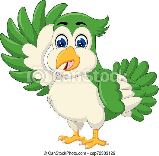 Funny Green Bird Cartoon - csp72383129