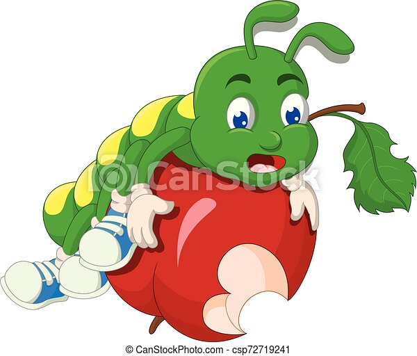 Funny Green Caterpillar With Red Apple Cartoon For Your Design
