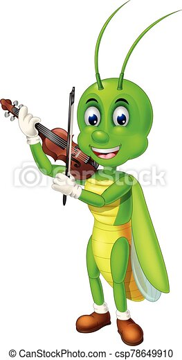 Funny Green Grasshopper Playing Brown Violin With Smiley Face Cartoon - csp78649910