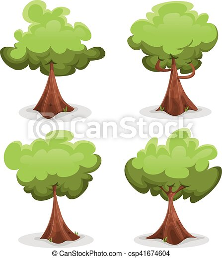 Funny Green Trees Set - csp41674604