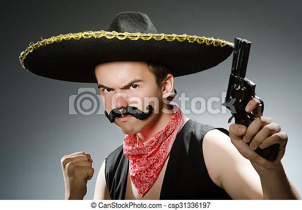 Funny guy wearing sombrero hat - csp31336197 0a4d437ef29