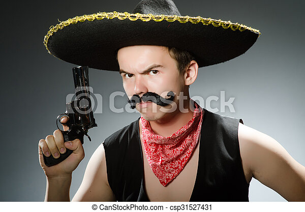 Funny guy wearing sombrero hat - csp31527431 6a8a0f1115d