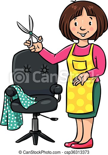funny hairdresser or barber profession abc series children rh canstockphoto com barber clipart black and white barber clipart images