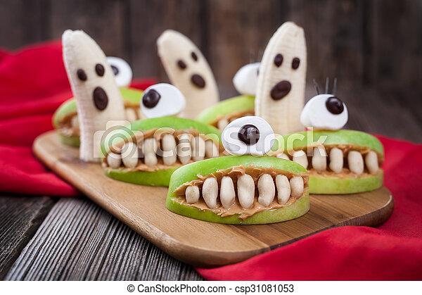 Funny halloween eadible monsters scary food healthy vegetarian snack ...