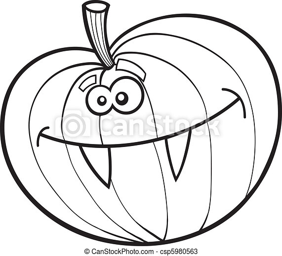 Illustration of funny halloween pumpkin for coloring book.