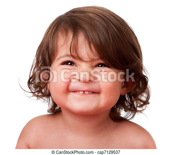 Funny happy baby toddler face - csp7129537