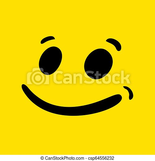 funny happy face illustration - csp64556232