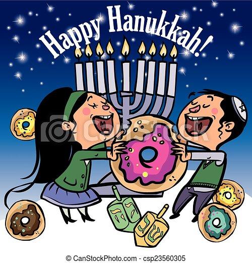 Funny Happy Hanukkah greeting card. Vector illustration - csp23560305