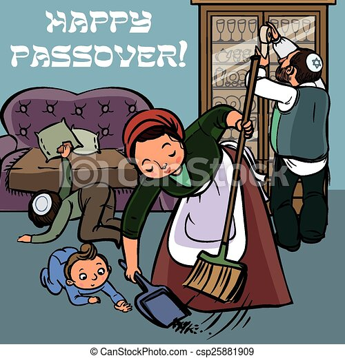 Funny happy jewish passover greeting card vector illustration happy jewish family clean house before pesah m4hsunfo