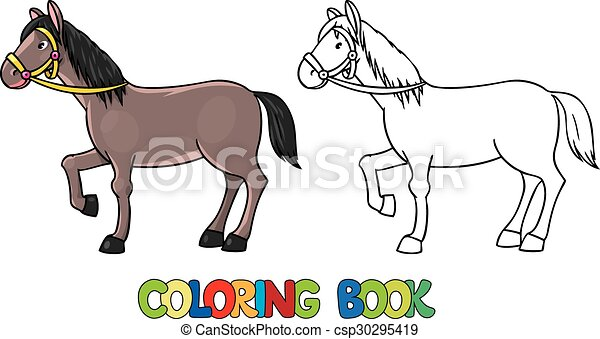 Funny horse. coloring book. Coloring book or coloring picture of ...