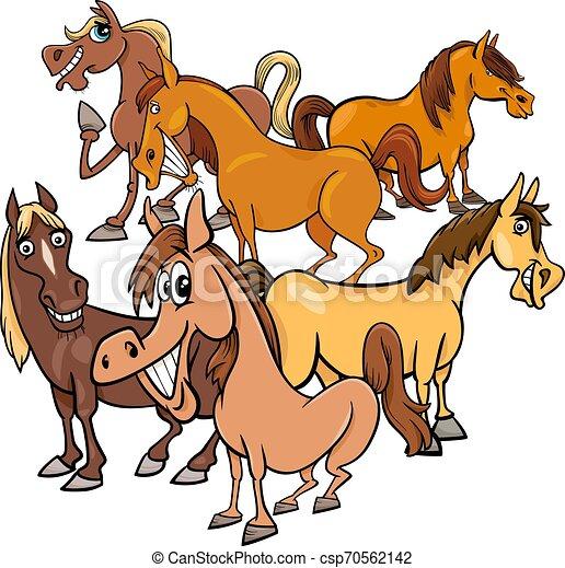 funny horses cartoon farm animals group - csp70562142