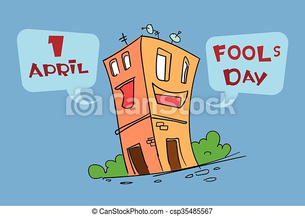 Funny house building cartoon character fool day april holiday funny house building cartoon character fool day april holiday greeting card csp35485567 m4hsunfo