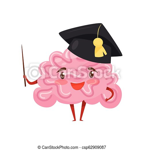 Funny humanized brain in black academic cap with pointer in hand. Cartoon character with happy face. Flat vector design - csp62909087