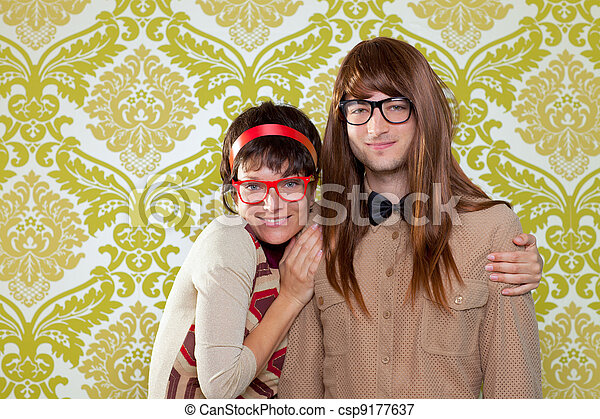 Funny humor nerd couple on vintage wallpaper - csp9177637