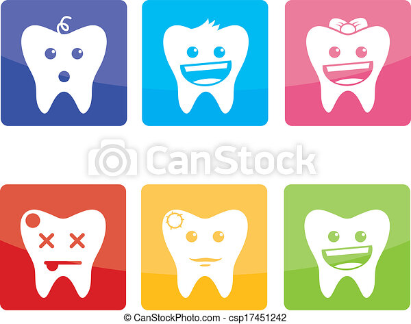 Funny icons for pediatric dentistry - csp17451242