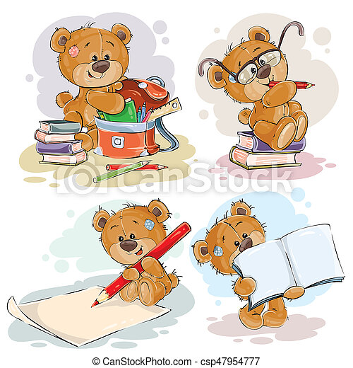 Funny illustrations for greeting cards and childrens books on the set of clip art illustration with a teddy bear on the topic of school and university education funny illustrations for greeting cards and children s books m4hsunfo