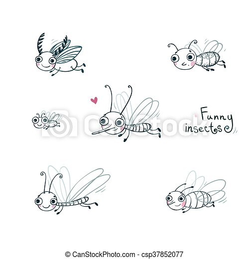 Funny insect cartoon set. - csp37852077