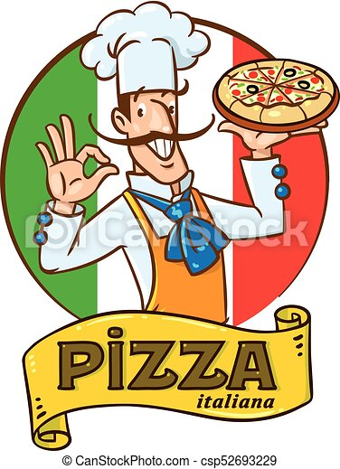funny italian chef with pizza emblem design chef with vector rh canstockphoto com