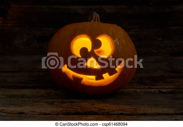 Funny Jack,O,Lantern with glowing candle.