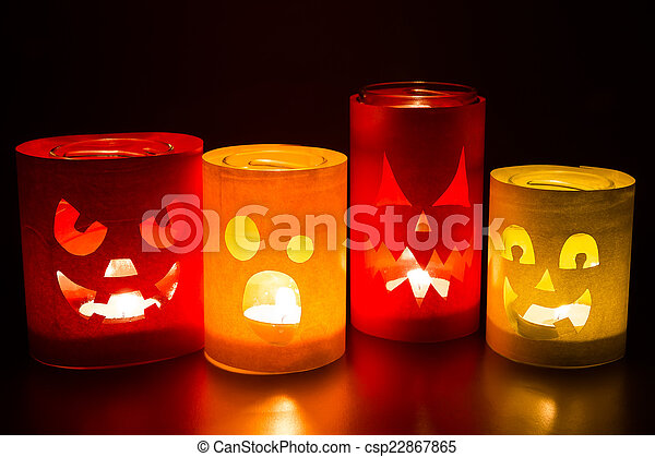 Funny jack-o-lanterns  - csp22867865