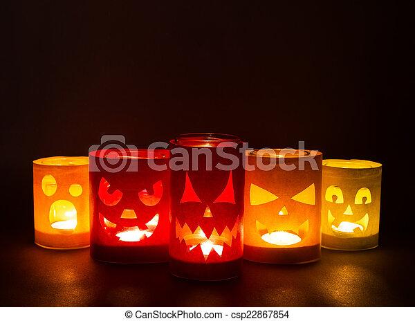Funny jack-o-lanterns  - csp22867854