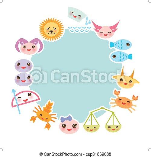 Funny Kawaii zodiac sign, light blue round frame, astrological set  virgo, aries, gemini, cancer, aquarius, taurus, leo, libra, sagittarius,  fish, capricorn, scorpio. Vector - csp31869088