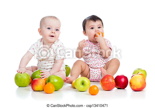 Funny kids babies eating healthy food fruits isolated on ...
