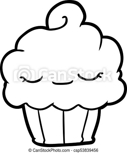 Funny Line Drawing Of A Cupcake
