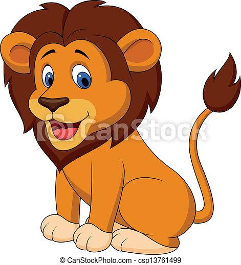 Funny lion cartoon - csp13761499